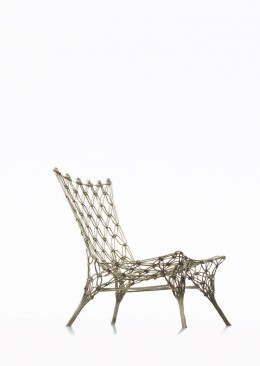 Marcel Wanders, Knotted Chair, lounge chair, 1996 Droog / Cappellini / Personal Editions, knotted carbon and aramide fiber cord, secured with epoxy resin, sand blasted. The Stedelijk Museum holds prototype no. 5 in the collection.