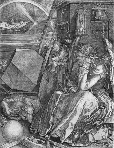 Dürer's 〈Melencolia I〉 is one of three large prints of 1513–14 known as his Meisterstiche (master engravings). The other two are 〈Knight, Death, and the Devil〉 and 〈Saint Jerome in His Study〉. Though they do not form a series in the strict sense, the prints do correspond to the three kinds of virtue in medieval scholasticism—moral, theological, and intellectual—and they embody the complexity of Dürer's conception. Albrecht Dürer (1471–1528), Melencolia I, 1514. Engraving, 9 1/2 x 7 3/8 in. (24 x 18.5 cm) Harris Brisbane Dick Fund, 1943.