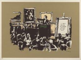 Banksy, 『Morons』. 이 낙서화는 본래 뱅시가 2006년 LA에서 가진 ⟪Barely Legal⟫ 전시회에 100판 한정본 가운데 한 작품. 인쇄: Modern Multiples.