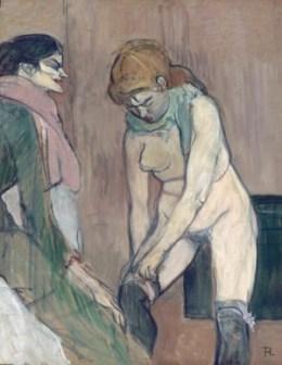앙리 드 툴루즈-로트렉(Henrie de Toulouse-Lautrec) 「스타킹을 신는 여자(Femme tirant son bas)」 1894년.