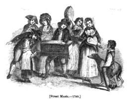 18세기 바로크 시대 빈 거리에서 음악을 켜는 사람들. 당시 사람들은 기타 처럼 생긴 류트를 즐겨 다뤘다. 자료 사진.