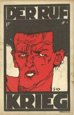 »소집 (Der Ruf)« 지 1912년11월호 전쟁 특집호 표지로 선정된 에곤 실레의 자화상, 22,8 × 14,8 cm / Letterpress. Private collection.