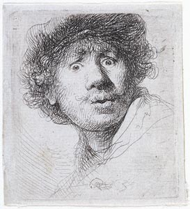 Rembrandt Harmensz. van Rijn (1606–1669) 『Self-Portrait in a Cap』 1630 Etching, 51 x 46 mm. Gift of J. P. Morgan, Jr.