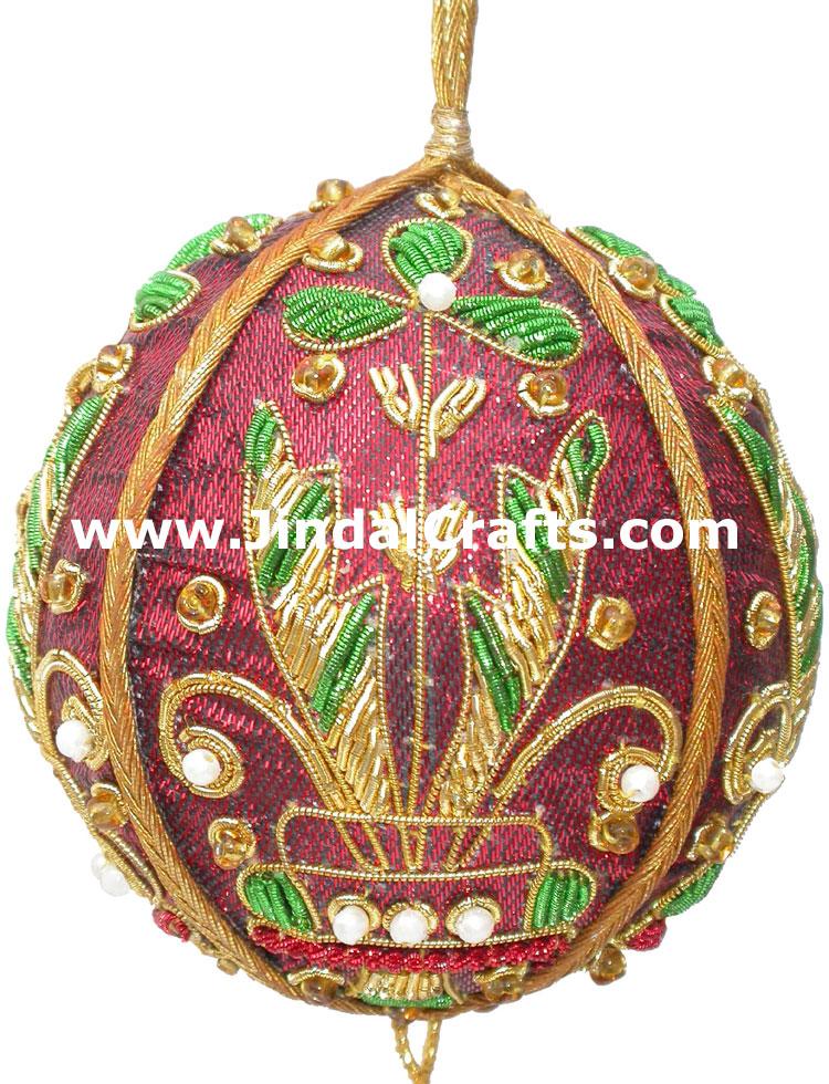 Hand Embroidered Jari Christmas Decoration Hangings