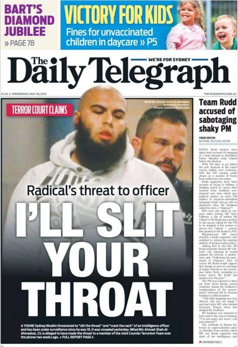 นาย Milad Bin Ahmad Shah al Ahmadzi คด่ขู่ปาดคอปรากฎในนสพ. Telegraph ฉบับ 29 พ.ค. 2013