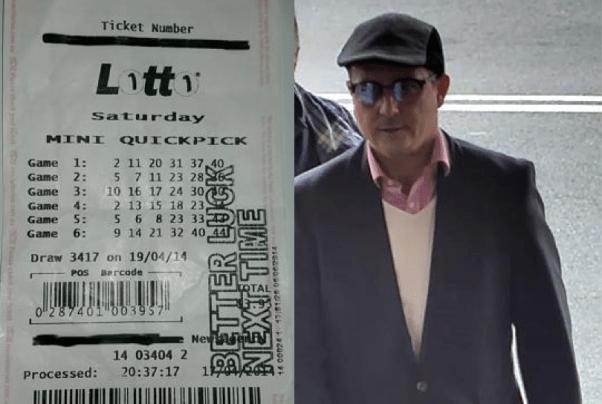 เศษกระดาษไร้ค่าที่แก๊งคนร้ายอ้่างว่าเป็นตั๋วล็อตโต้ถูก 20 ล้านเหรียญ และหนึ่งในชายผู้ต้องสงสัย