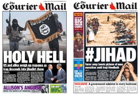 ส่วนหนึ่งของหนังสือพิมพ์หลายฉบับที่เสนอข่าวการสู้รบในซีเรียและอิรัก