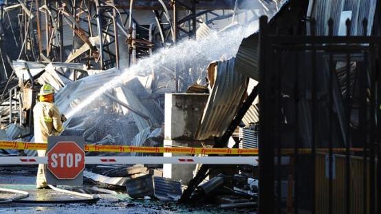 อาคารอุตสาหกรรมที่ Alexandia  หลังถูกไฟไหม้ ภาพจาก News Corp