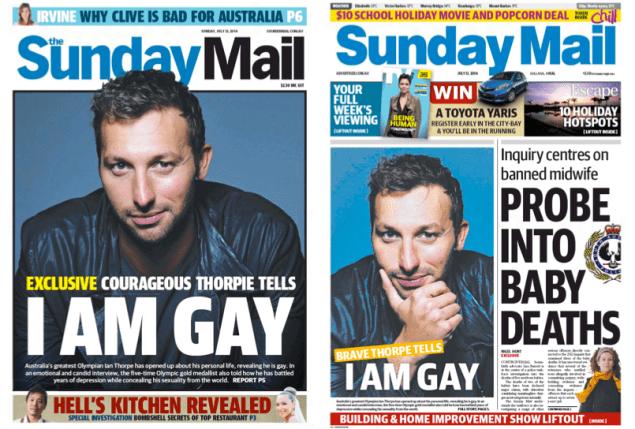นสพ. Sunday Mail และ the Sunday Mail ฉบับวันที่ 13 ก.ค.เป็นหนึ่งในหนังสือพิมพ์หลักหลายฉบับลงข่าว Ian Thorpe ออกมาเปิดเผยว่าเป็นเกย์