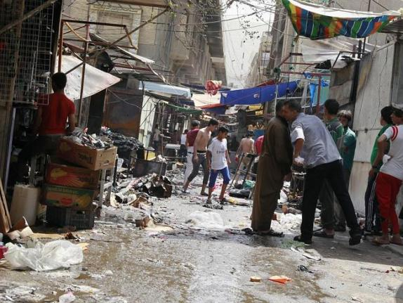 เหตุการณ์หลังระเบิดพลีชีพที่ตลาดของย่าน Shojar ในกรุงแบกแดด