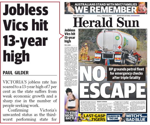 นสพ. the Herald Sun ฉบับ 8 ส.ค. 2014 พาดหัว คนว่างงานรัฐวิกตอเรียเพิ่มสูงสุดในรอบ 13 ปี