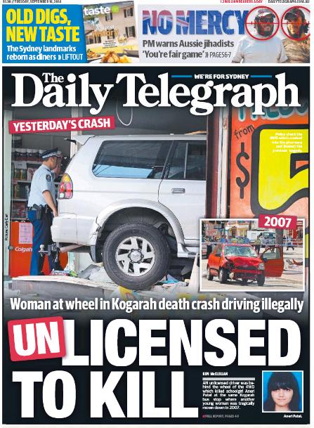 นสพ.The Daily Telegraph ฉบับ 16 ก.ย. 2014 พาดหัวข่าวอุบัติเหตุรถพุ่งชนนักเรียนเสียชีวิตเป็นเหตุการณ์ซ้ำกับเมื่อ 7 ปีที่ผ่านมา
