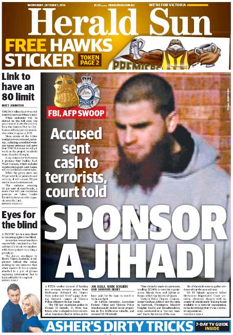 นสพ. Herald Sun ฉบับ 1 ตุลาคม 2014 เสนอข่าวการจับกุมนาย Hussain El Sabsabi พนักงานร้านพิซซ่าผู้เป็นสปอนเซ่อร์รายย่อยของกลุ่มก่อการร้าย