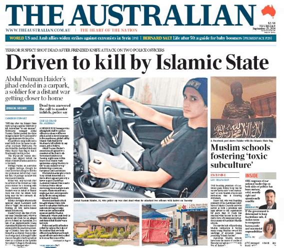"""นสพ. the Australian ฉบับ 25 ก.ย. 2014 พาดหัวข่าว """"ผลักดันให้ฆ่าโดยรัฐอิสลาม"""" มีภาพนาย Numan Haider นั่งอยู่ภายในรถ ภาพเล็กด้านล่างซ้ายเป็นบ้านครอบครัวของเขาในย่าน Endeavour Hills เมลเบิร์น,  ด้านล่างขวาเต้นท์สีฟ้าคือที่คลุมศพนาย Haider และภาพเล็กบนขวาคือนาย Haider กับธงรัฐอิสลาม"""