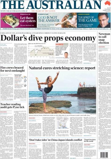 นสพ. the Australia ฉบับ 6 ม.ค. 2015 พาดหัว เอ-ดอลลาร์ดิ่งส่งเศรษฐกิจออสซี่พุ่ง