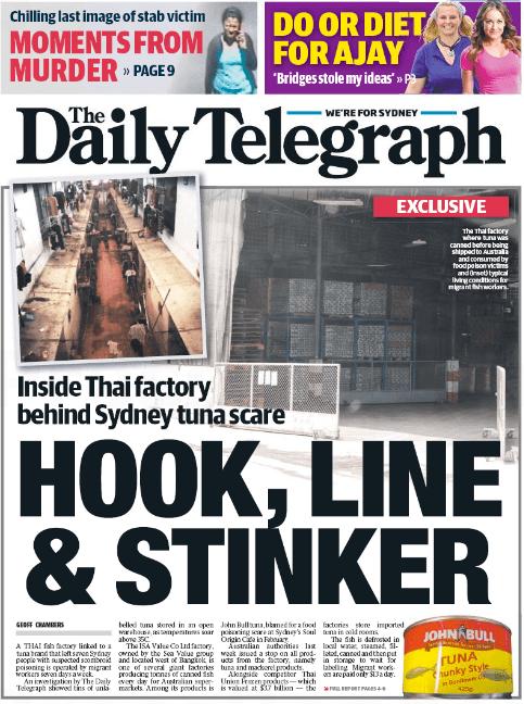 นสพ. the Telegraph ฉบับ 10 มี.ค. 2015 ขึ้นหน้าหนึ่งสภาพการผลิตปลากระป๋องที่โรงงานในไทยก่อนสู่ปากคนออสเตรเลีย เล่นเอาออสซี่ชนไม่ยากกินทูน่ากระป๋องไปอีกนาน