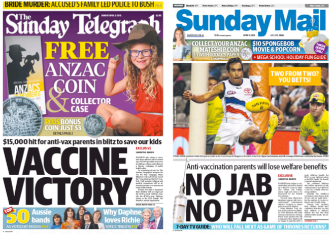 นสพ. the Sunday Telegraph และ Sunday Mail ฉบับวันที่ 12 เม.ย. 2015 เสนอข่าวรัฐบาลประสบชัยในการผลักดันกฎหมายบังคับฉีดวัคซีนเด็กเล็ก