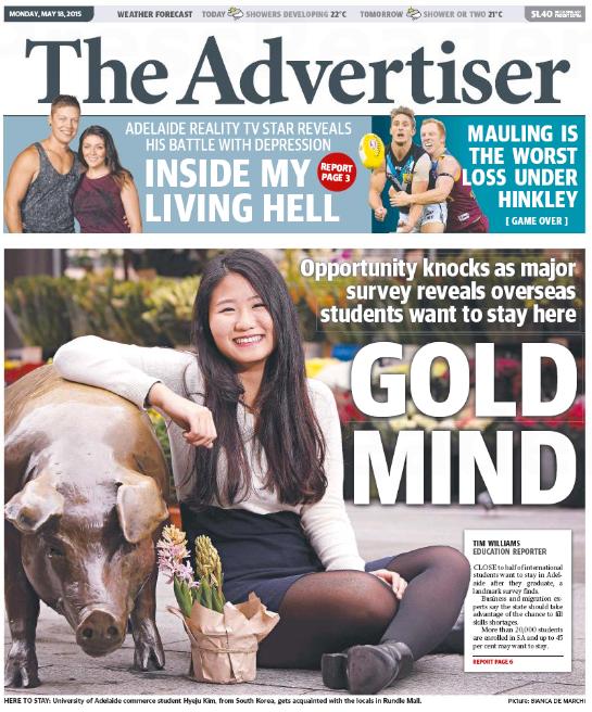 นสพ. the Advertiser ฉบับ 18 พ.ค. 2014 ขึ้นหน้าหนึ่ง ถึงผลการสำรวจพบนักศึกษาต่างชาติในรัฐเซาท์ออสเตรเลียต้องการอยู่ต่อในประเทศหลังสำเร็จการศึกษา