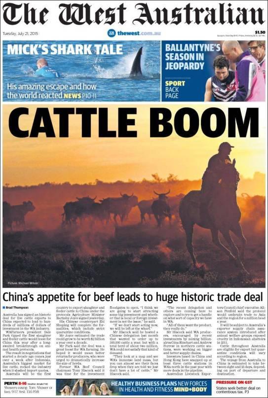 นสพ. the West Australian ฉบับ 21 ก.ค. 2015 เสนอข่าวการเจรจาซื้อขายวัวเนื้อกับจีน