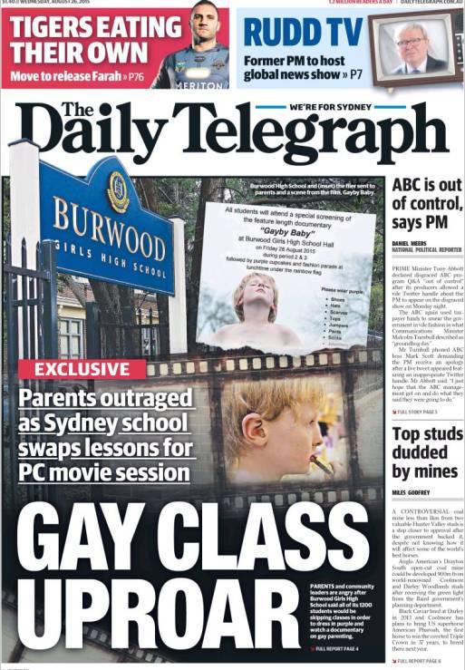 นสพ. Telegraph ฉบับ 26 ส.ค. 2015 พาดหัวข่าวโรงเรียน Burwood Girls High ยกเลิกเรียนวันศุกร์เพื่อให้นักเรียนดูหนังเลสเบี้ยนและฉลองวันสีม่วง