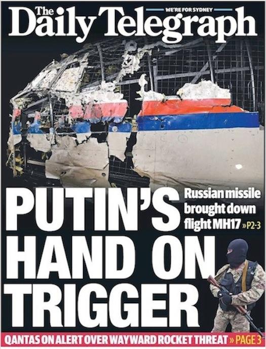 นสพ. the Telegraph ฉบับ 14 ต.ค. 2015 พาดหัวนาย Vladimir Putin ปธ.รัสเซียคือผู้มีส่วนในการยิงเครื่องบินมาเลเซียแอร์ไลน์ตก