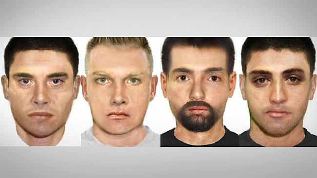 ภาพจากคอมพิวเตอร์แสดงผู้ต้องสงสัยทั้งสี่ที่ตำรวจต้องการตัวมาสอบปากคำ : ภาพจากสนง.ตำรวจรัฐวิกตอเรีย