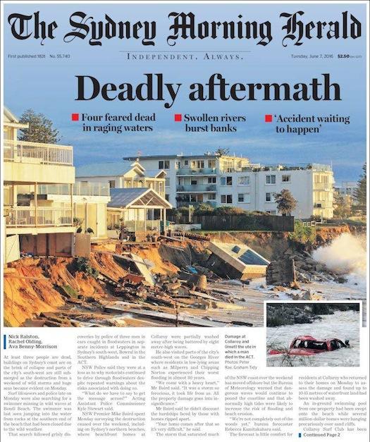 หนังสือพิมพ์ SMH ฉบับ 7 มิ.ย. 2016 แสดงภาพบ้านถนน Pittwater Rd ย่าน Collaroy ที่ได้รับความเสียหาย (ด้านซ้าย) 7 ใน 10 หลังอาจเผชิญต่อการถูกรื้อทิ้ง