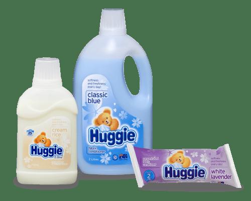 น้ำยาปรับผ้านุ่ม Huggie ที่ถูกจัดอยู่ในลำดับที่ดี : ภาพประชาสัมพันธ์ของ Pental เจ้าของแบรนด์ Huggie