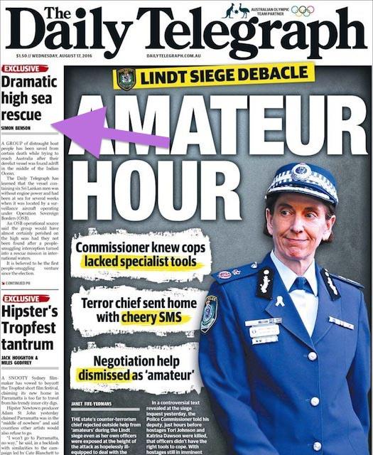 นสพ. the Telegraph ฉบับ 17 ส.ค. 2016 เสนอข่าวเรือมนุษย์ชาวศรีลังกาพยายามลักลอบเข้าน่านน้ำออสเตรเลีย แต่เกือบเอาชีวิตมาทิ้งกลางมหาสมุทร