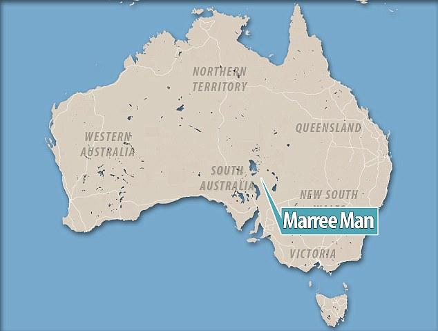 จุดที่พบ Marree Man อยู่กลางทะเลทราย Arabana ทางเหนือสุดของรัฐเซาท์ออสเตรเลีย : ภาพจาก dailymail.co.uk