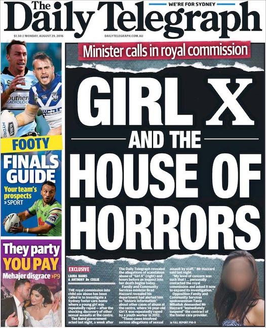 นสพ. the Telegraph ฉบับ 29 ส.ค. 2016 พาดหัวข่าว รัฐมนตรีเรียกร้องให้ตั้งคณะกรรมการไต่สวนแห่งชาติกรณีพนักงานบ้านเลี้ยงเด็กข่มขืนด.ญ. Girl X และบ้านแห่งความกลัว