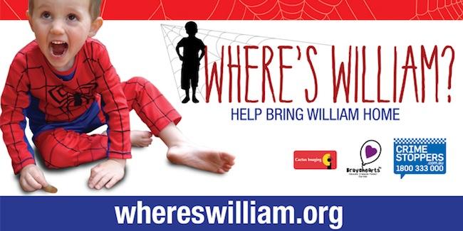 ด.ช. William Tyrrell ในชุดสไปเดอร์แมน : ภาพจาก whereswilliam.org