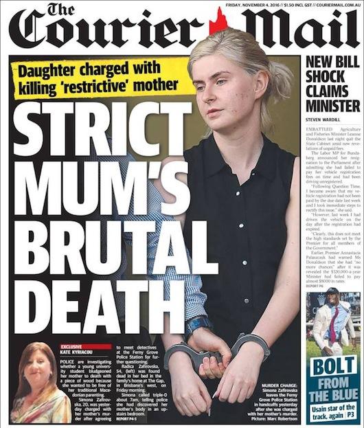 นสพ. The Courier Mail ฉบับ 4 พ.ย. 2016 เสนอข่าวบุตรสาวสังหามารดาผู้เข้มงวดเสียชีวิต