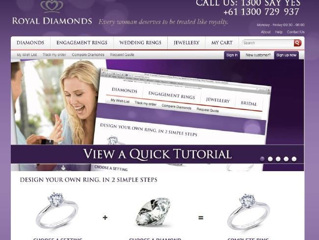 เว็บไซท์ของบริษัท Royal Diamonds Pty. Ltd.