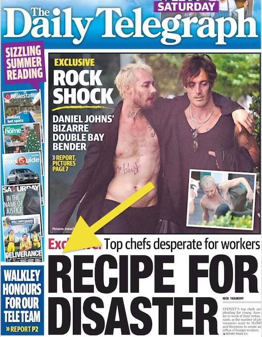 นสพ. The Telegraph ฉบับ 3 พ.ย. 2016 ด้านล่างเสนอข่าวเชฟระดับแนวหน้ามีความต้องการลูกจ้างเป็นอย่างมาก การขาดแรงงานก็ไม่ต่างไปจากสูตรอาหารสู่ความวิบัติ