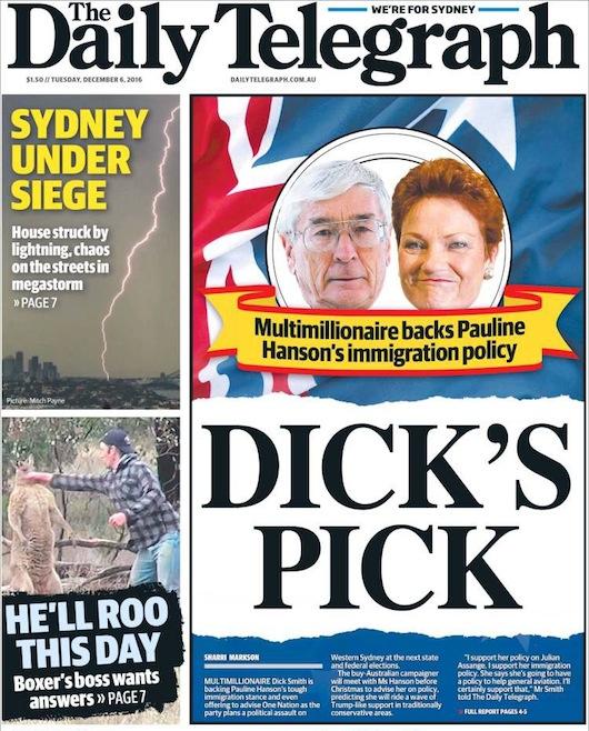 นสพ. The Telegraph ฉบับ 6 ธ.ค. 2016 พาดหัวข่าวนาย Dick Smith สนับสนุนนโยบายการรับผู้อพยพของนาง Pauline Hanson