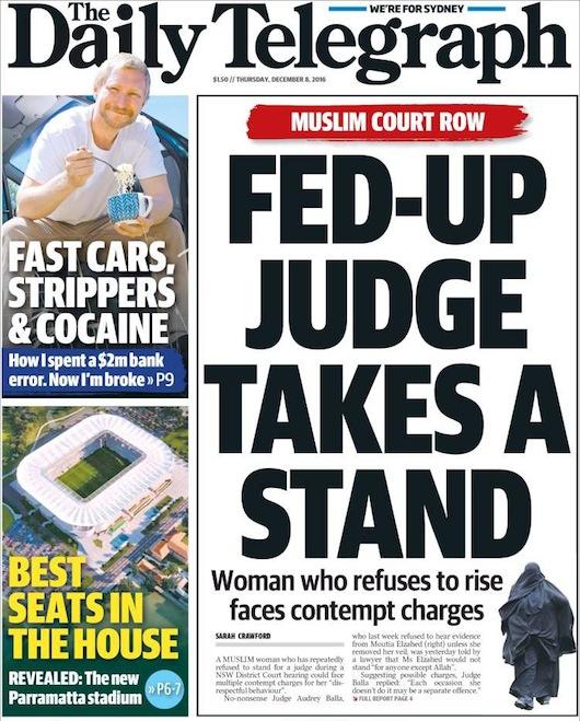 นสพ. The Telegraph ฉบับ 8 ธ.ค. 2016 พาดหัวข่าวผู้พิพากษาเหลืออดตอบโต้สตรีที่ปฏิเสธไม่ยอมเปิดหน้าเมื่อศาลขอจะเจอข้อหาดูหมิ่นศาล