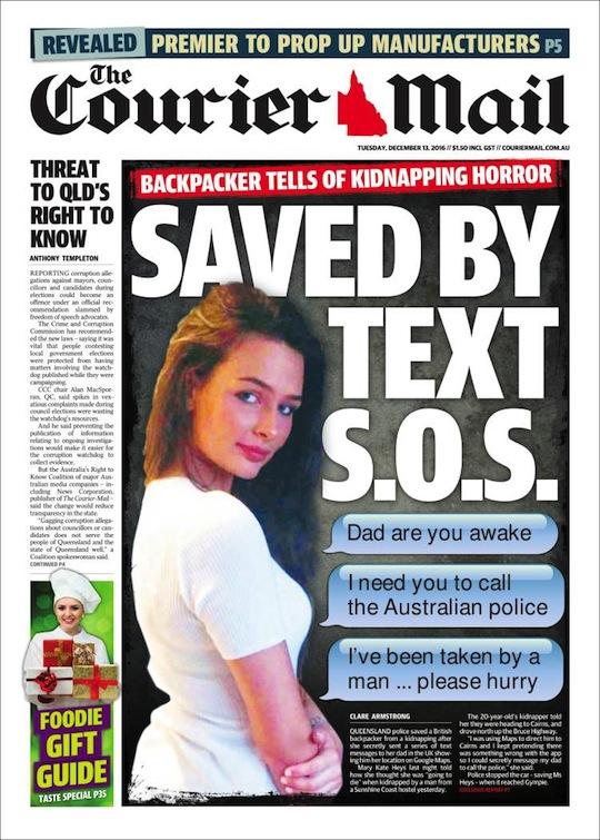 นสพ. The Courier ฉบับ 13 ธ.ค. 2016 พาดหัวข่าวแบคแพคเกอร์สาวชาวอังกฤษถูกลักพาตัว รอดพ้นมาได้เพราะส่งเท็กซ์ของความช่วยเหลือไปถึงบิดาในอังกฤษให้ช่วยแจ้งตำรวจ
