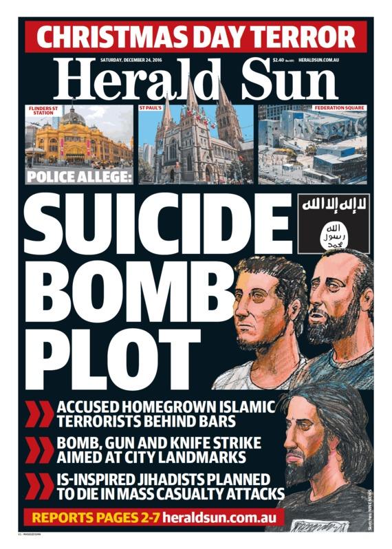 """นสพ. Herald Sun ฉบับ 24 ธ.ค. 2016 พาดหัวข่าว """"แผนระเบิดพลีชีพ"""" และมีภาพสเก็ตใบหน้าของผู้ต้องหาก่อการร้ายทั้งสามคน"""