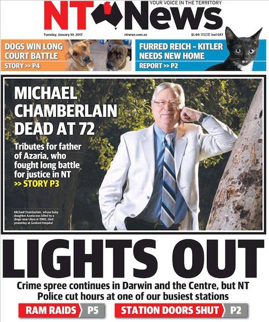 นสพ. NT News ฉบับ 10 ม.ค. 2017 เสนอข่าวการเสียชีวิตของดร. Michael Chamberlain