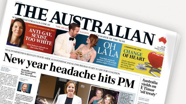 นสพ. The Australian ฉบับ 10 ม.ค. 2016 เสนอข่าวนาง Sussan Ley สร้างปัญหาปวดหัวให้กับนายกฯเป็นประเดิมปีใหม่
