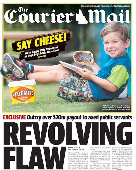 นสพ. the Courier ฉบับ 20 ม.ค. 2016 เสนอข่าว Bega Cheese เข้าซื้อกิจการบริษัทผู้ผลิต Vegemite