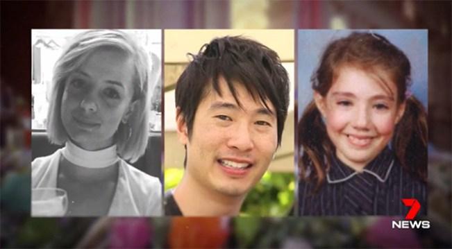 น.ส. Jess Mudie, นาย Matthew Si และด.ญ. Thalia Hakin สามในห้าผู้เสียชีวิตที่ได้รับการเปิดเผยชื่อ : ภาพจากข่าว 7 News