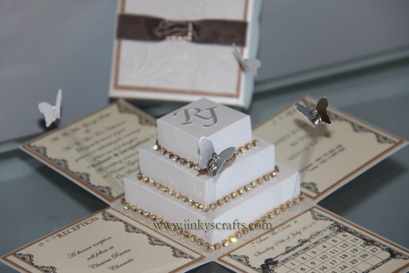 Box Wedding Invitations W Square Cake Bling