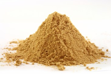 a pile of ground ginger on white, bright yellow color, sharp shot.