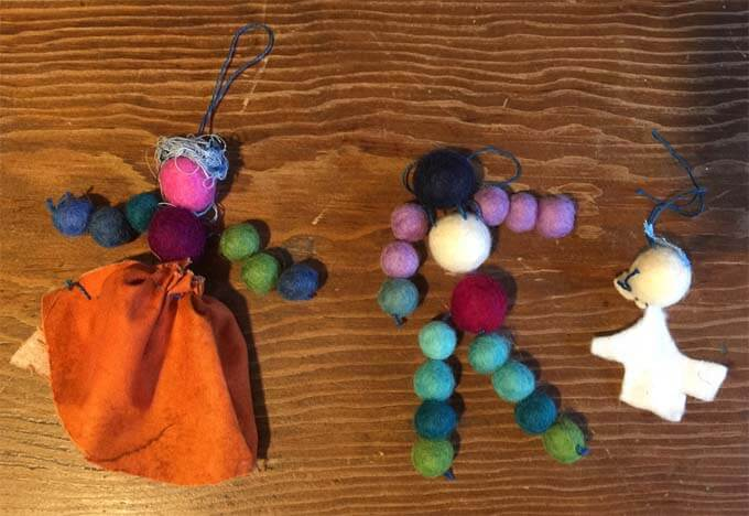 Dolls made from felted balls that I brought back from India.