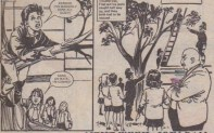 The class larrikins are up the tree when they try to rescue a kitten. From Pam of Pond Hill, 7 April 1984.
