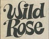 """Wild Rose"" logo. The skewed font brings out the ""wild"" while the curlicues tie in with ""Rose""."
