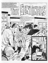 "Lively newspaper office in the splash panel from part 7 of ""The Sentinels"", Misty 18 March 1978."