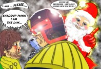 Christmas spirit comes to Judge Dredd. Artwork by Mistyfan.